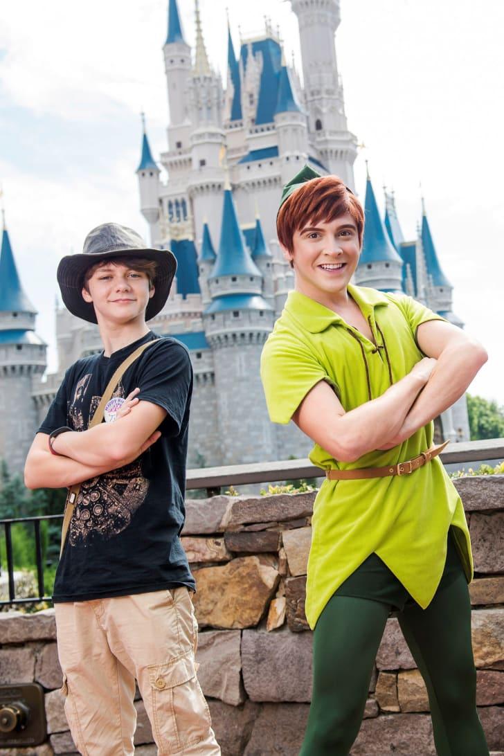 An actor playing Peter Pan at a Disney theme park.