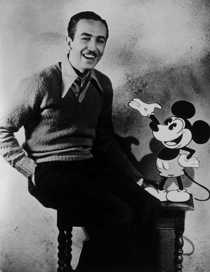 Walt Disney and Mickey Mouse.