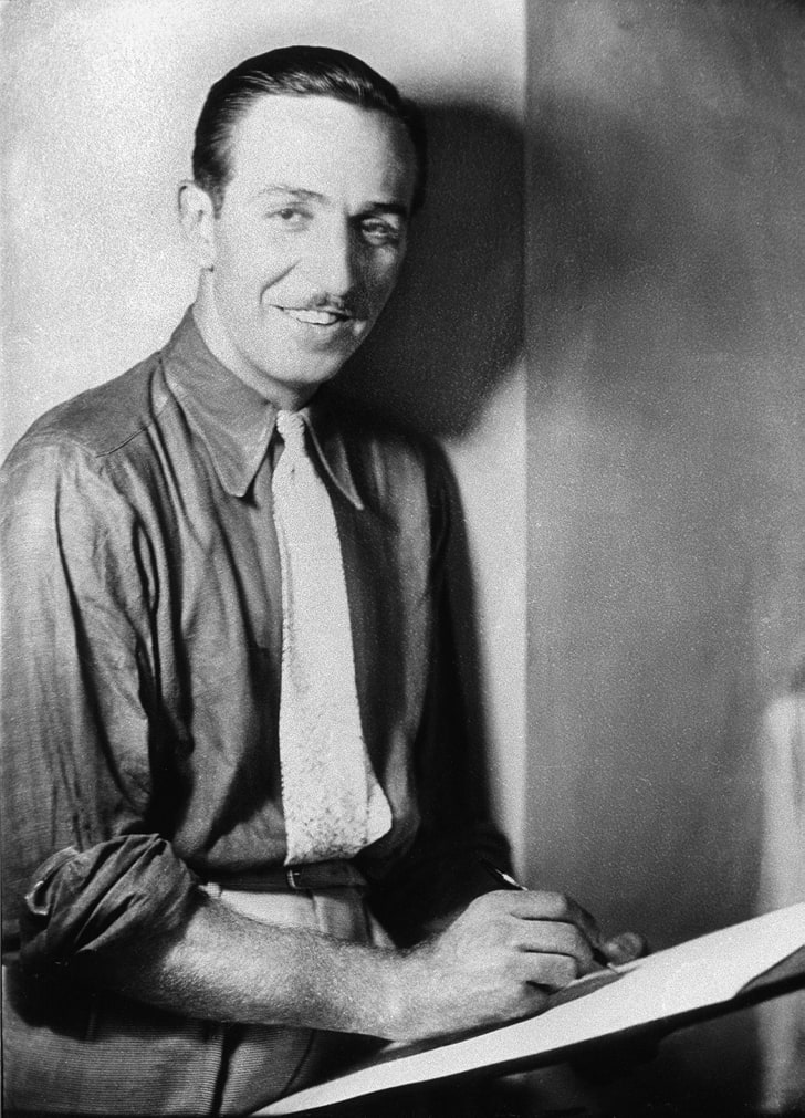 A photo of a young Walt Disney.