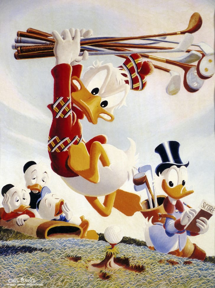 A painting of Donald Duck and Scrooge McDuck.