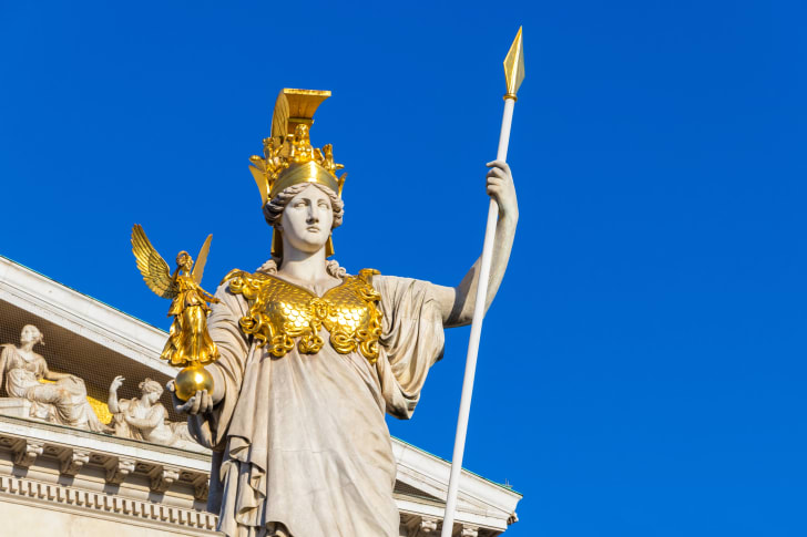 Statue of Athena holding a spear