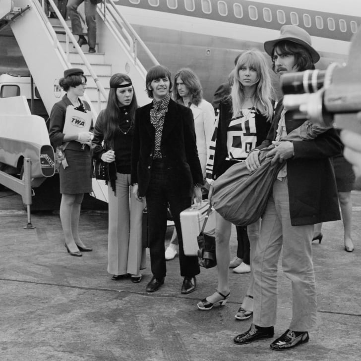 Ringo Starr, Maureen Cox, George Harrison, Pattie Boyd and Eric Clapton arrive at Heathrow Airport in 1968.