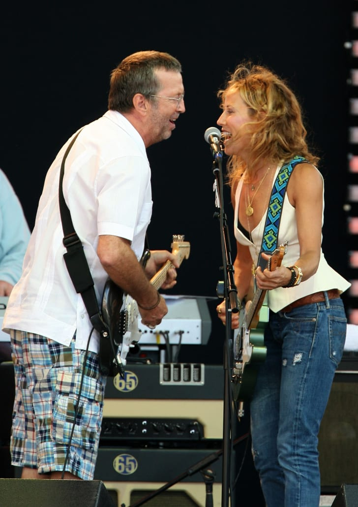 Eric Clapton and Sheryl Crow perform together during the 2007 Crossroads Guitar Festival in Bridgeview, Illinois.