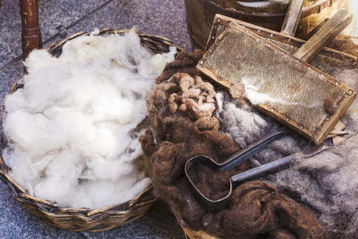 Raw wool and tools