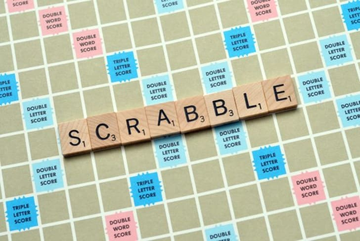 A Scrabble game board