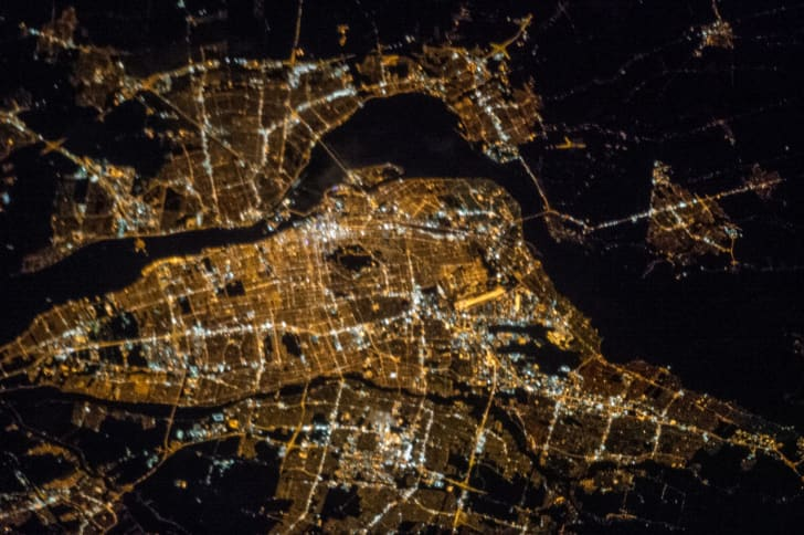 Photo from space of a city at night