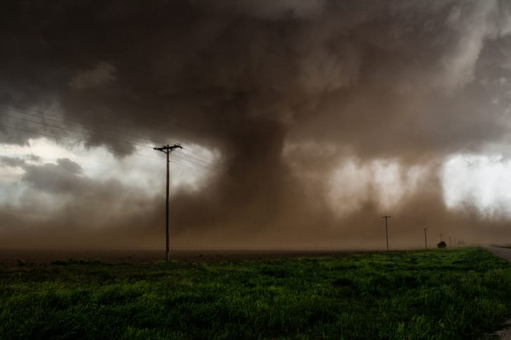 A tornado in the distance.