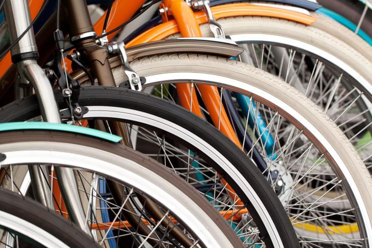 Bikes in a row.