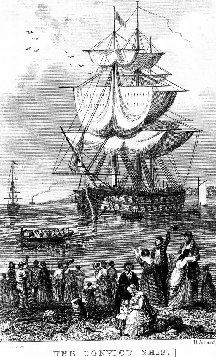 Drawing of a convict ship to Australia