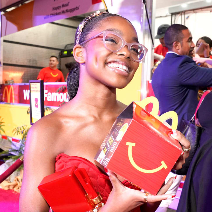 Actress Marsai Martin is pictured holding a McDonald's Happy Meal at the McDonald's premiere after party for 'The Lion King' at the Dolby Theater in Hollywood, California in July 2019