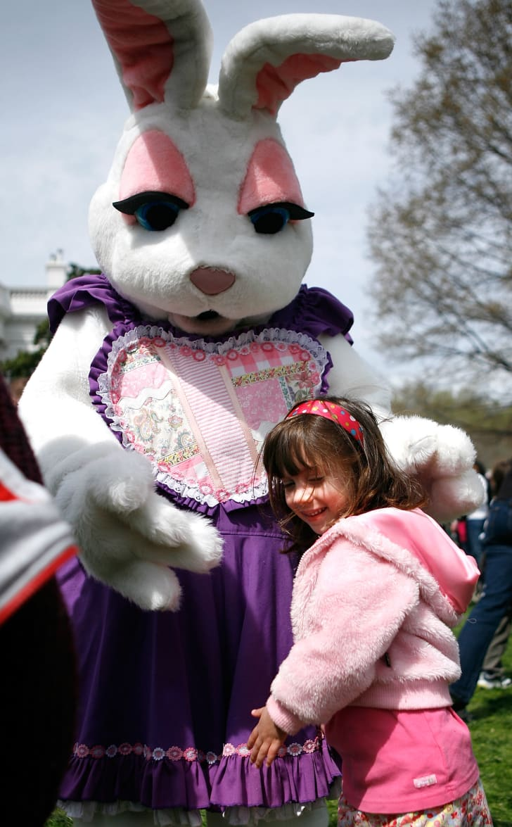 A person dressed as the Easter bunny.