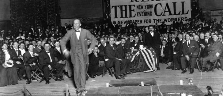 Eugene Debs during a 1912 presidential campaign speech.