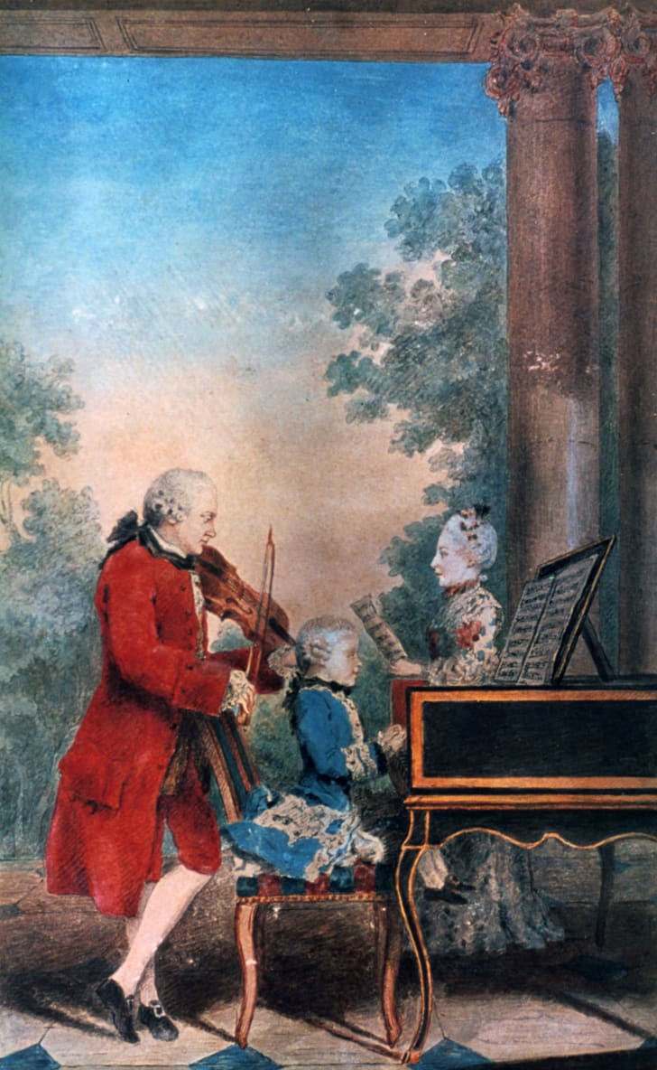 Leopold Mozart, Wolfgang Amadeus, and Maria Anna Mozart.