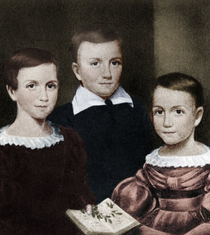 Emily Dickinson and her siblings.