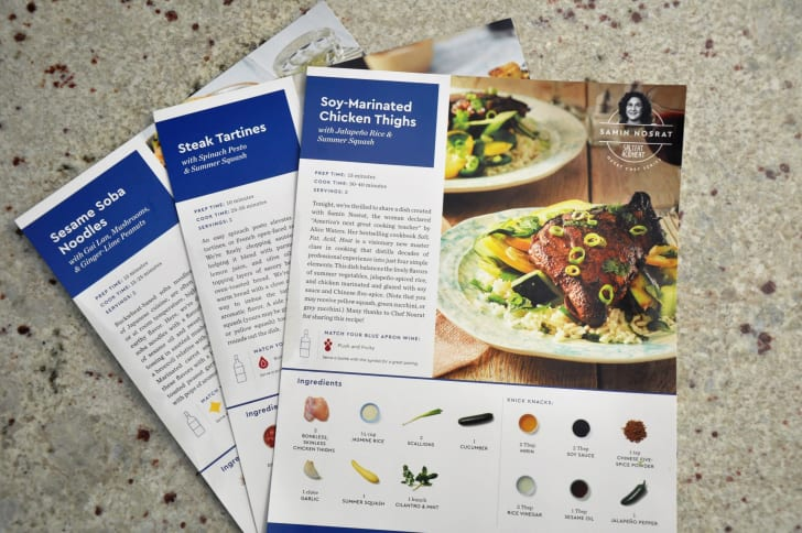 The menus available from Blue Apron.