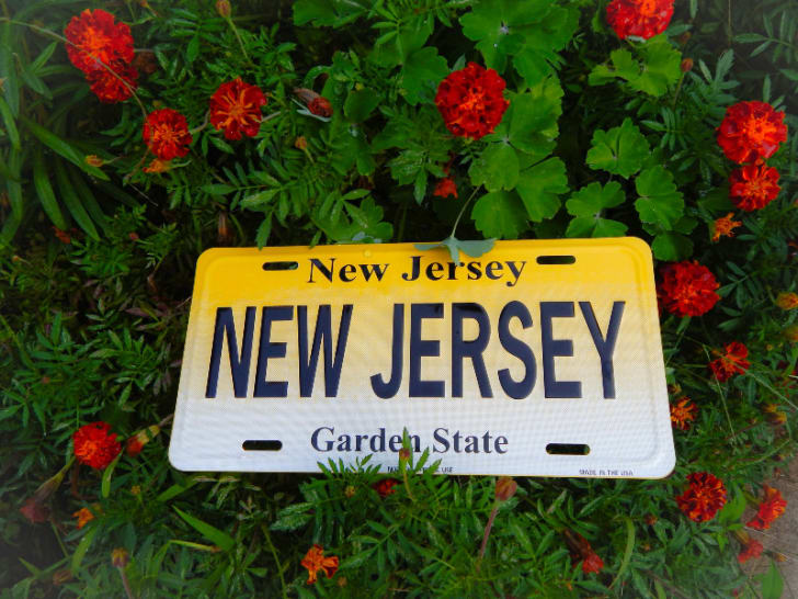 A New Jersey license plate is pictured