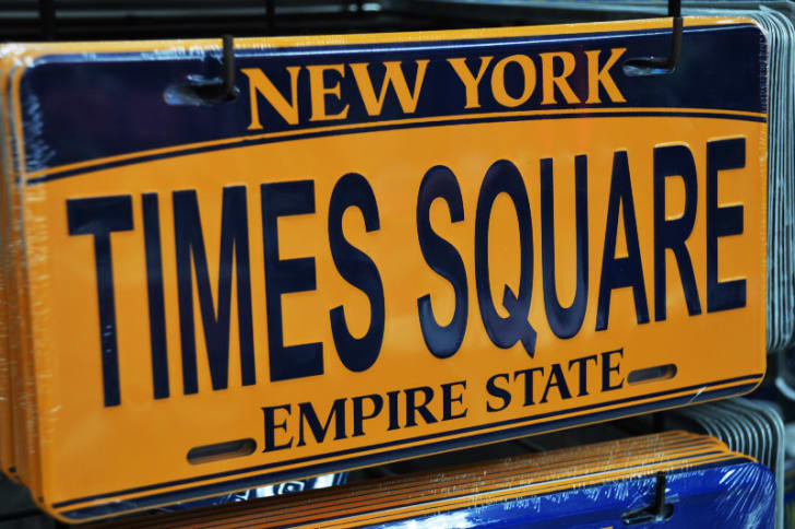 A New York license plate is pictured