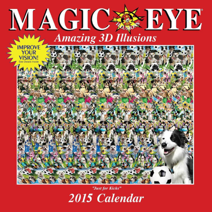A 2015 Magic Eye calendar is pictured