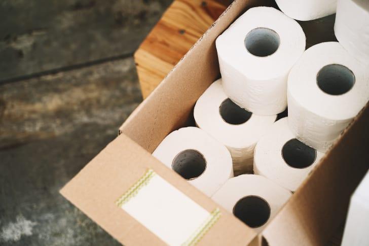 Cardboard box of toilet paper rolls
