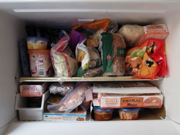 Freezer packed with food