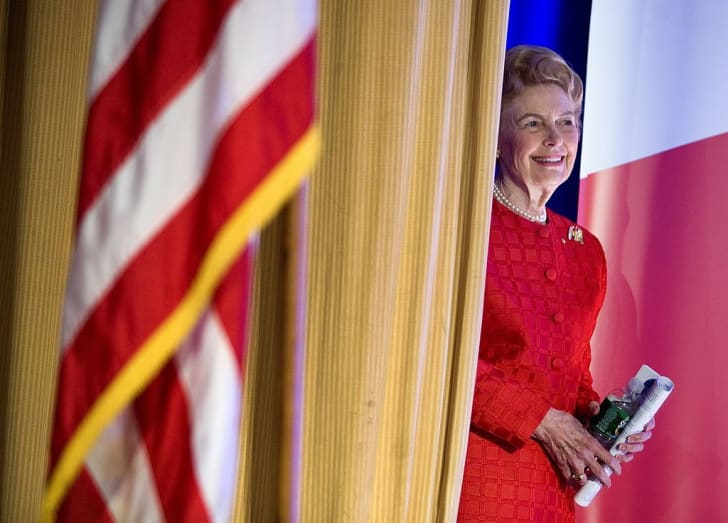 Phyllis Schlafly, president of the Eagle Forum, waits to speak during the Family Research Council's 2007 Washington briefing October 19, 2007 in Washington, DC