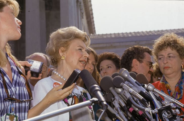 American political activist Phyllis Schlafly delivers a statement to the press following the US Supreme Court's decision in 'Planned Parenthood of Southeastern Pennsylvania v. Casey, 505 U.S. 833,' Washington DC, June 29, 1992
