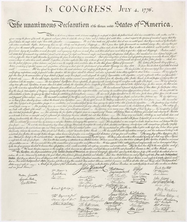A copy of the Declaration of Independence.