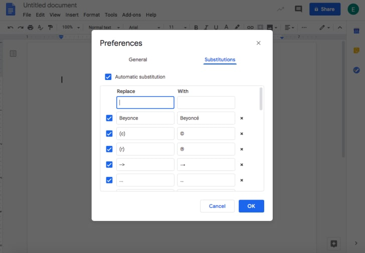 google doc personal dictionary
