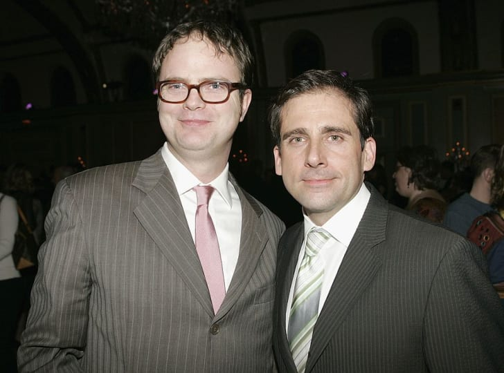 LOS ANGELES - JANUARY 22: Actor Rainn Wilson (L) and actor Steve Carell (R) attend the NBC TCA Party at the Ritz Carlton on January 22, 2006 in Los Angeles, California.