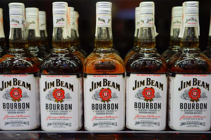 A row of Jim Beam bourbon