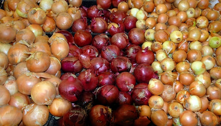 An assortment of onions at a grocery store