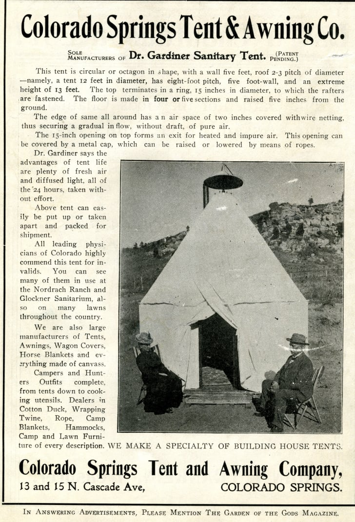 Advertisement for Gardiner Sanitary Tent