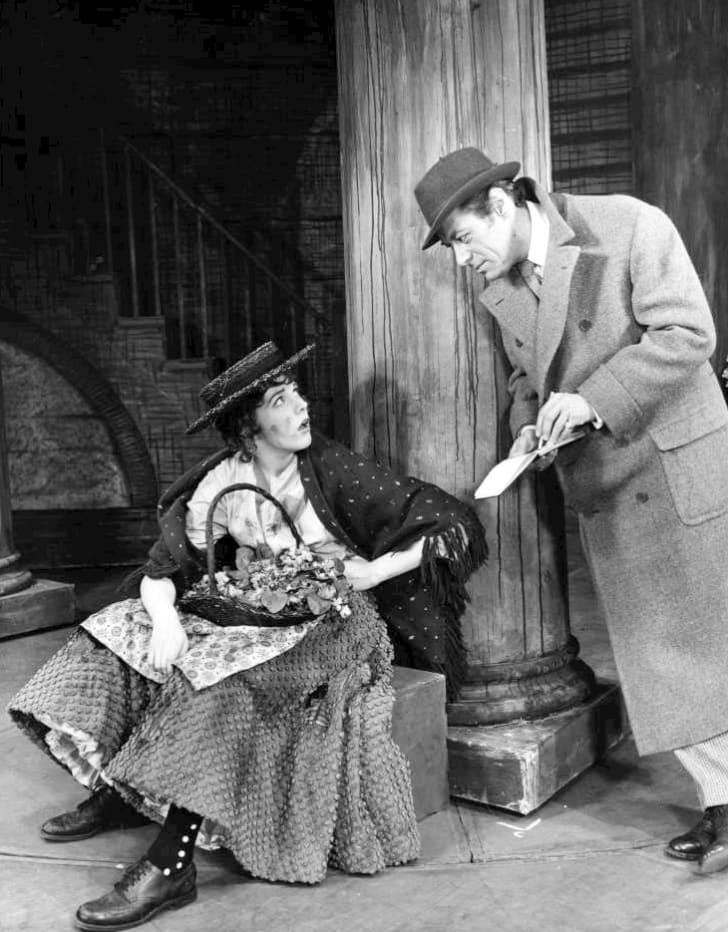 Julie Andrews and Rex Harrison from My Fair Lady. Eliza Doolittle, the flower girl, meets Professor Henry Higgins