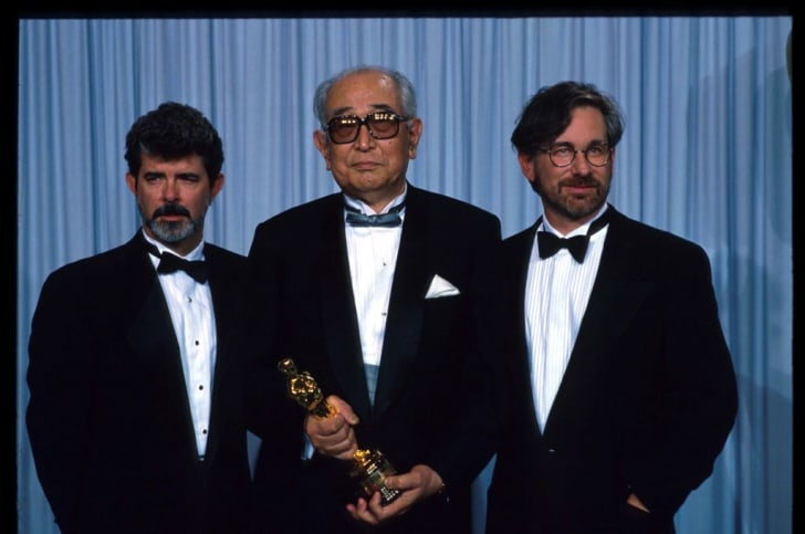 George Lucas, Akira Kurosawa, and Steven Spielberg at the Oscars in 1990