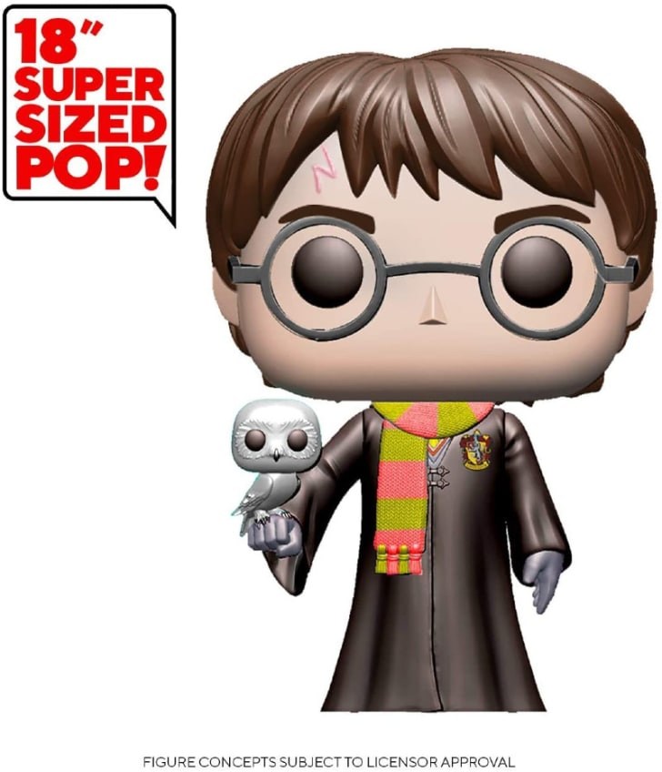 An 18-Inch Super-Sized Harry Potter Funko Pop! is pictured