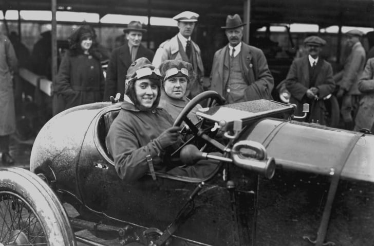 Motor meeting at Brooklands, Weybridge, Surrey. Competitor Ivy Cummings and her mother in their racing car