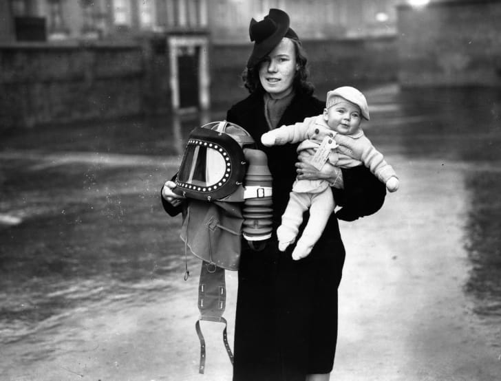 A mother and her baby ready for evacuation from London