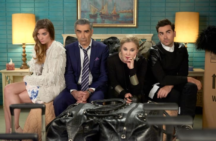 Eugene Levy, Annie Murphy, Catherine O'Hara, and Dan Levy in Schitt's Creek