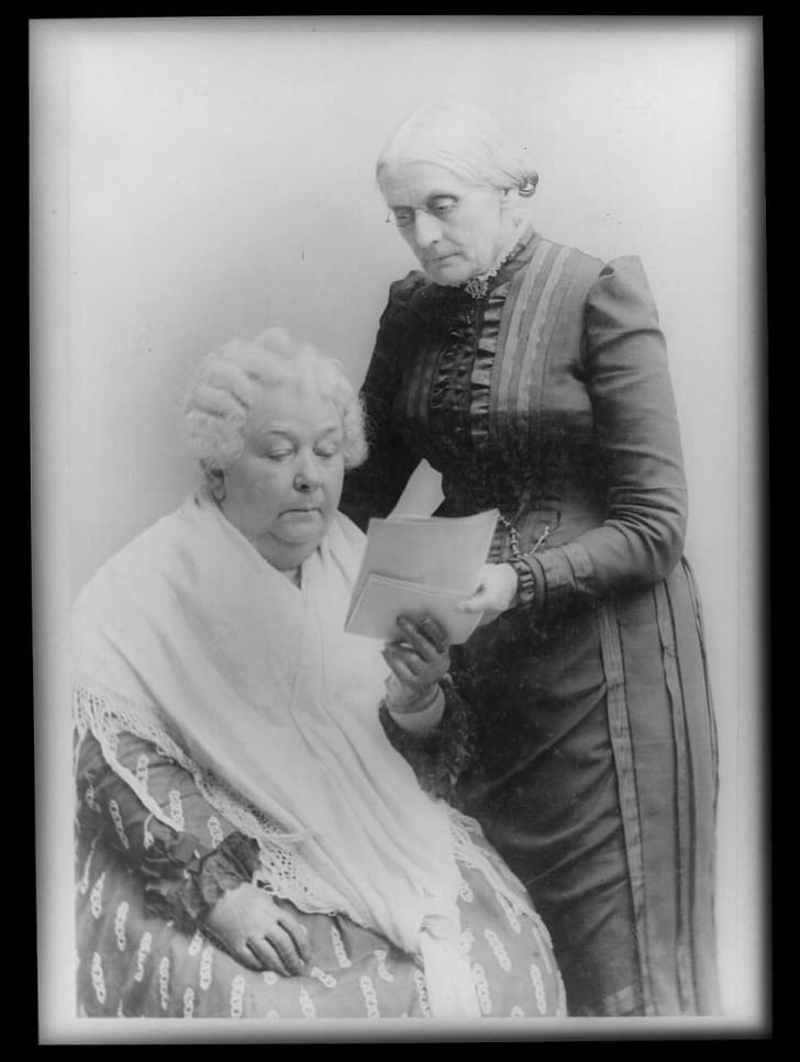 Elizabeth Cady Stanton with Susan B. Anthony.