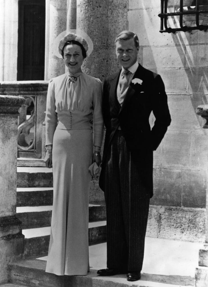 A photograph of The Duke of Windsor with Wallis Simpson their wedding day at Château de Condé in France.