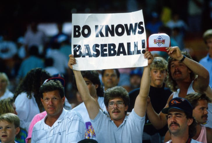 A Bo Jackson fan is pictured holding up a 'Bo Knows Baseball!' sign at the Major League Baseball All-Star Game at Anaheim Stadium in Anaheim, California on July 11, 1989