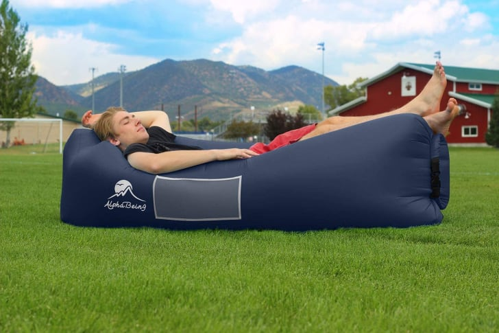 An inflatable outdoor cushion.