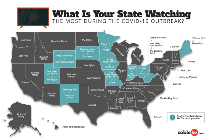 map of most watched TV shows in quarantine