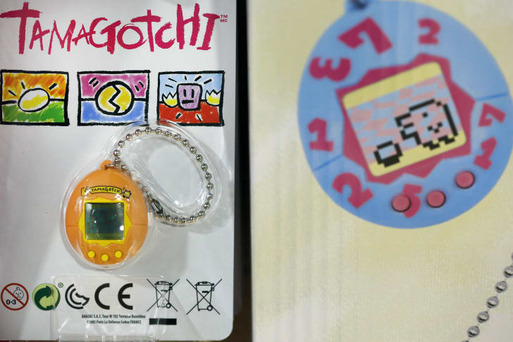 The 2017 re-release of the Tamagotchi in its packaging.