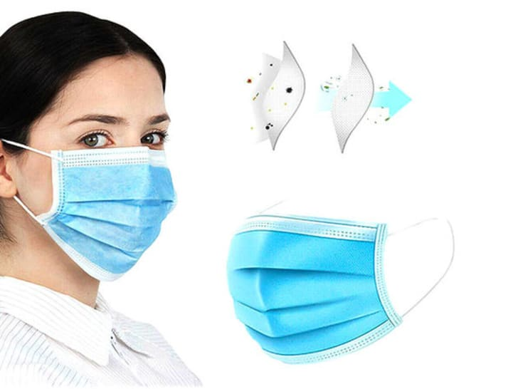 Woman wearing a three-ply protective mask.