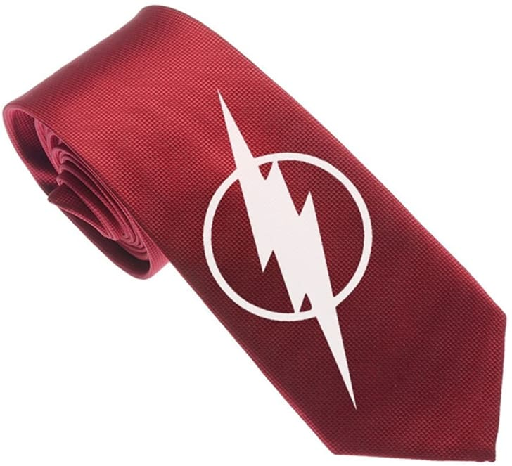 A skinny Flash-themed tie