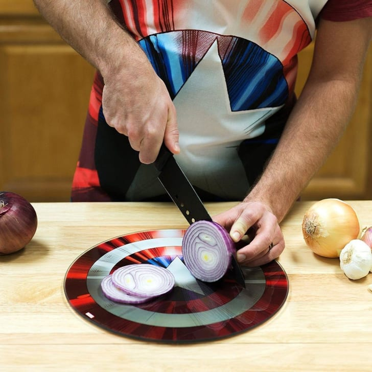 A Captain America themed apron