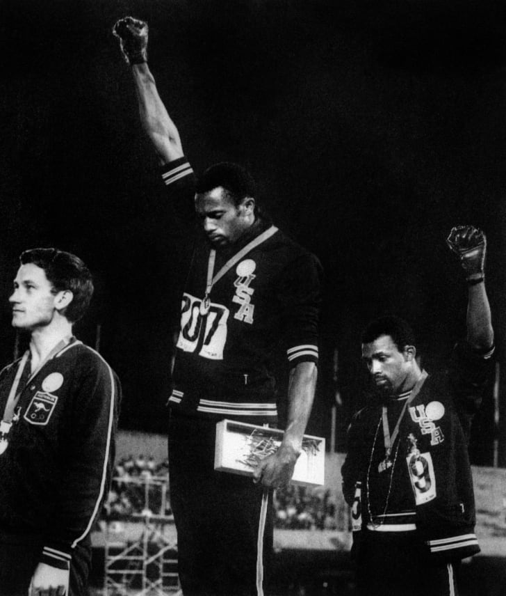 tommie smith and john carlos 1968 olympic medal ceremony