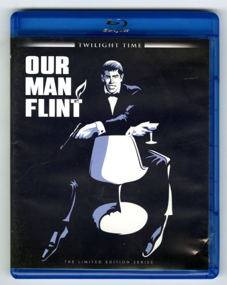 The 'Our Man Flint' Blu-ray is pictured