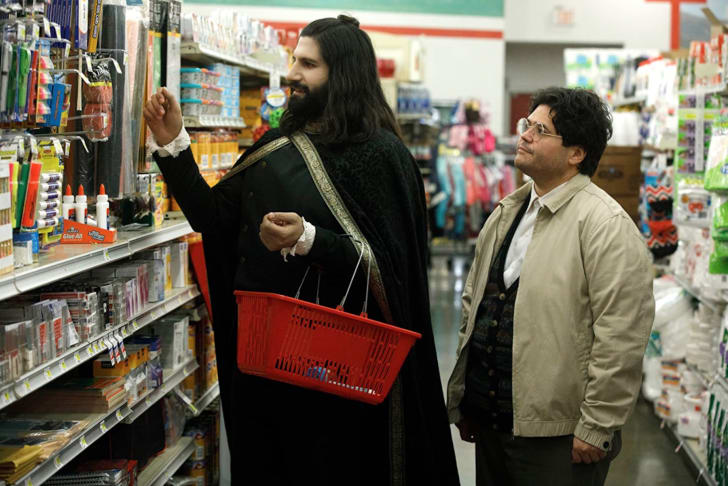 Kayvan Novak and Harvey Guillén in What We Do in the Shadows